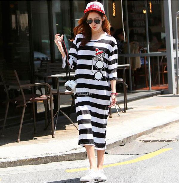 WD7361 Fashion Stripe Dress ( 2 Colors )