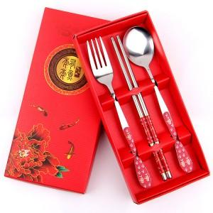 Wedding Gift Dinner Set : Wedding Gift~ Portable Stainless Steel Dinner Set 3 pcs (Red)