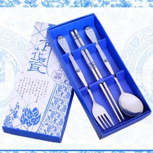 Wedding Gift Dinner Set : Wedding Gift~Portable Stainless Steel Dinner Set 3pcs (Blue)