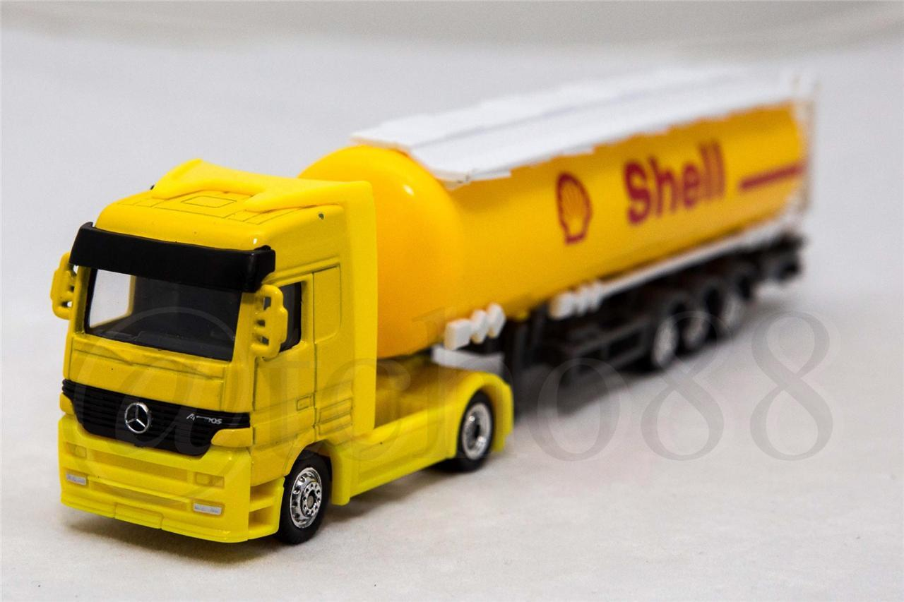 Welly 1:87 Die Cast Mercedes-Benz Shell Oil Tanker Yruck Yellow Model