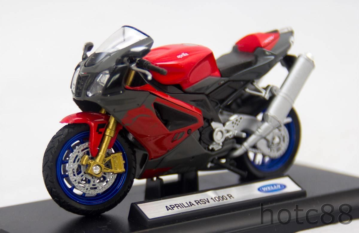 WELLY Die Cast Motorcycle Aprilla RSV 1000 R 1/18 Red Color Collection
