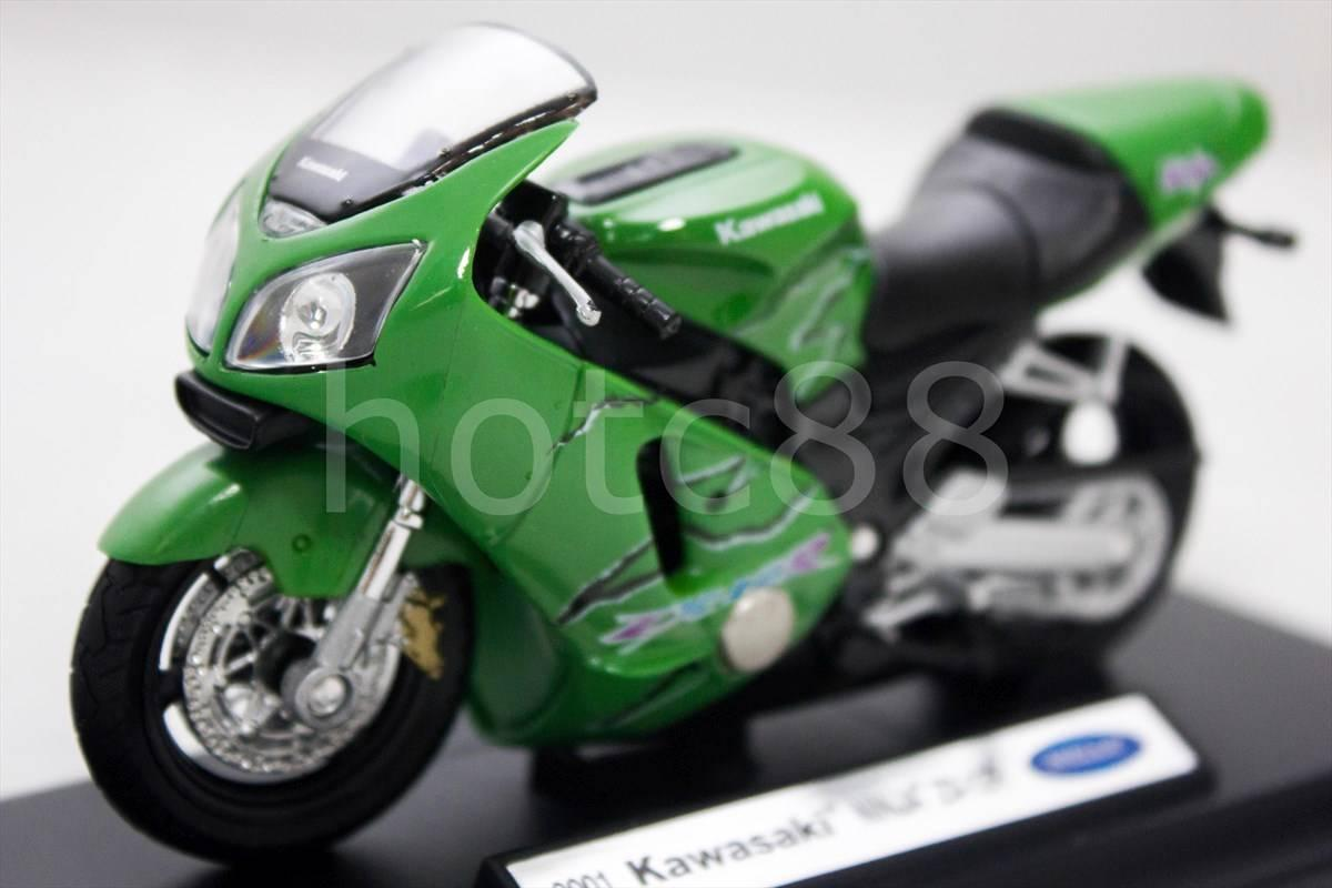 WELLY Die Cast Motorcycle Green Kawasaki Ninja ZX-12R 1/18 Collection