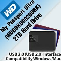 WESTERN DIGITAL MY PASSPORT ULTRA 2TB HARD DRIVE (WDBBKD0020BBK)