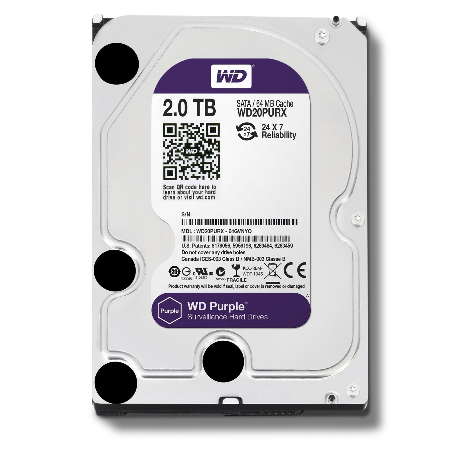 Western Digital Purple 3.5' 2TB Surveillance Hard Drive
