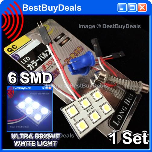 WHITE 6 SMD 6W Bulb T10 Festoon 30mm~44mm LED 12v Car Dome Roof Light