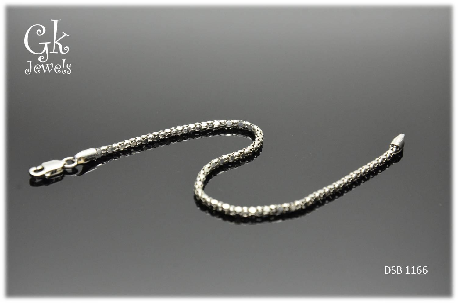 White Gold On 925 Silver Bracelet DSB 1166 (thick:2mm)