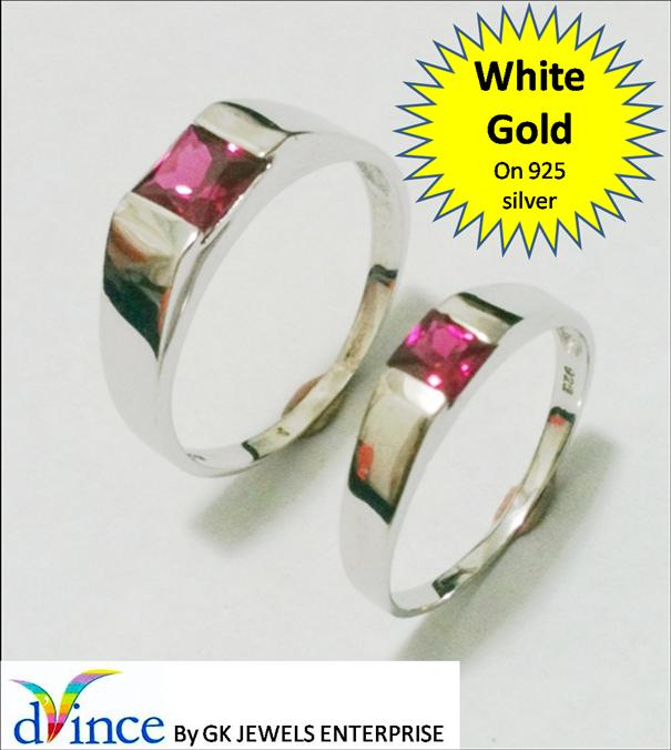 White Gold On 925 Silver Couple Ring (pair) *57