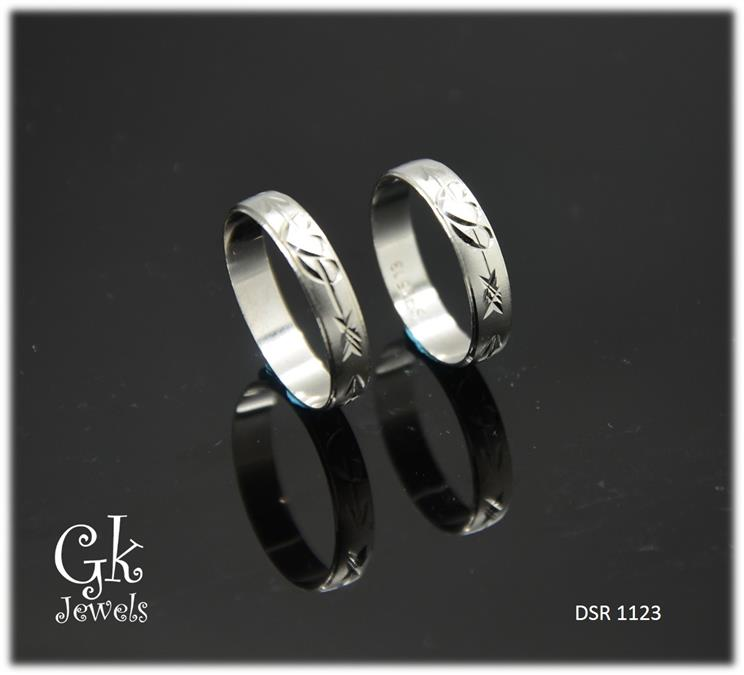 White Gold On 925 Silver Couple Ring per pair DSR 1123