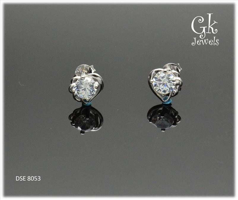 White Gold On 925 Silver Earring DSE 8053