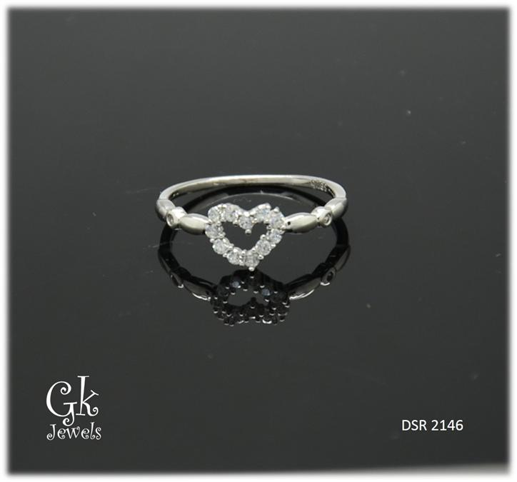 White Gold On 925 Silver Ring DSR 2146
