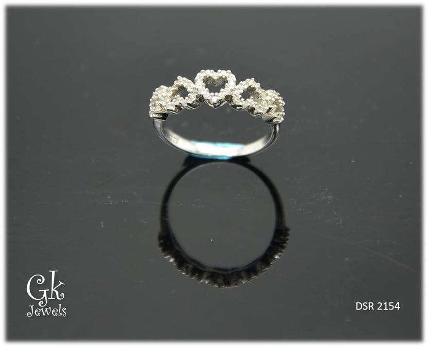 White Gold On 925 Silver Ring DSR 2154
