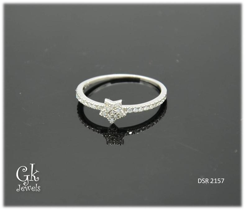 White Gold On 925 Silver Ring DSR 2157