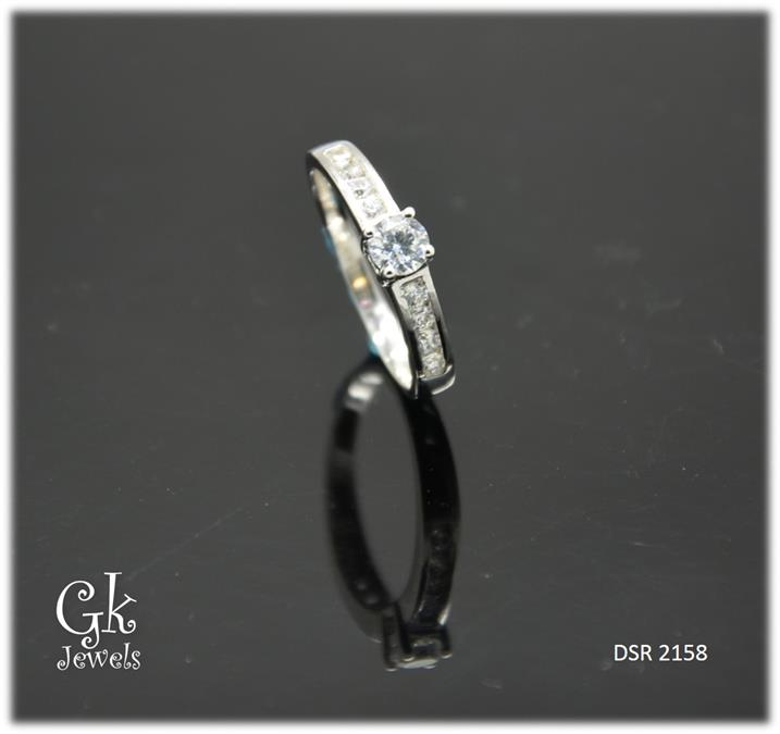 White Gold On 925 Silver Ring DSR 2158