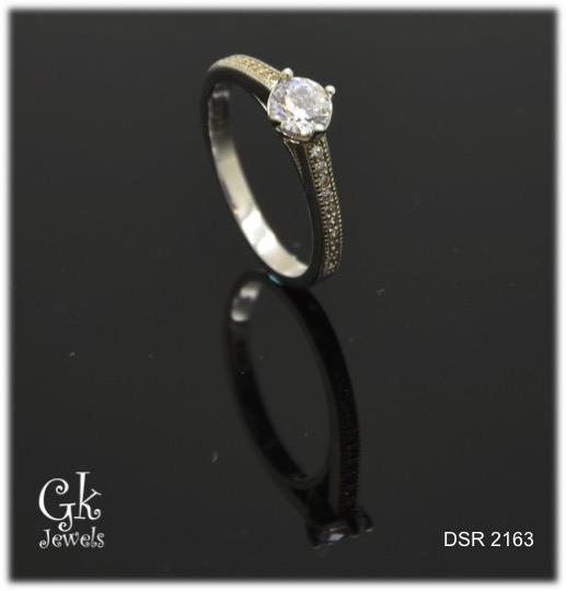 white gold on 925 silver ring DSR 2163