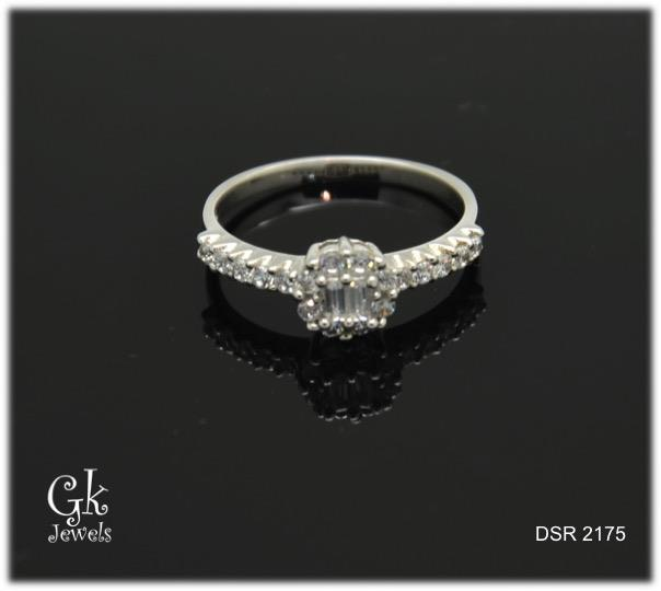 white gold on 925 silver ring DSR 2175