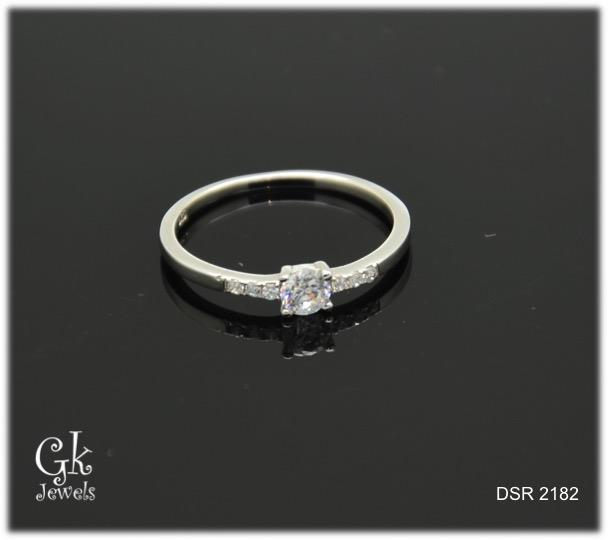 white gold on 925 silver ring DSR 2182