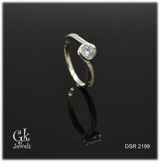 white gold on 925 silver ring DSR 2199