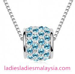 White Gold Plated Austrian Crystal Round Pendant Necklace with Swarovs