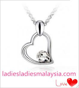 White Gold Plated Heart Necklace with Swarovski Elements