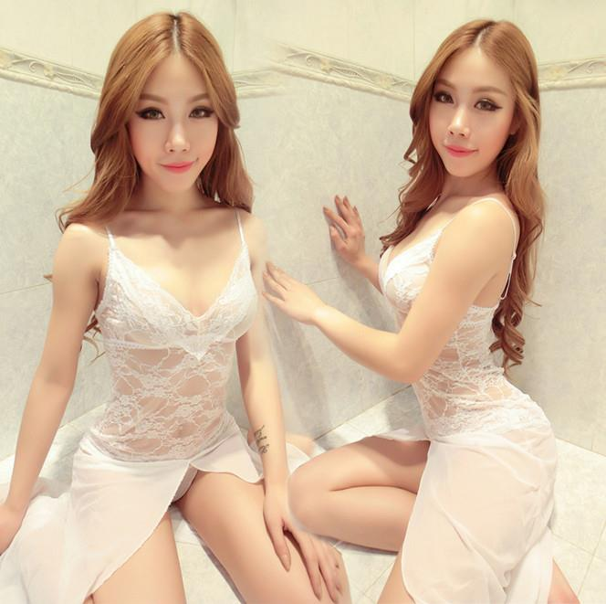 White Lace Babydoll Long Dress + G-string Lingerie Sleepwear