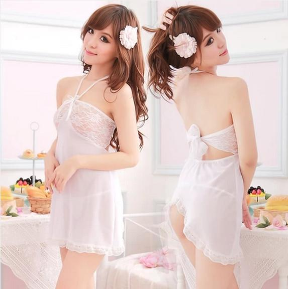 White LaceHalter Babydoll Dress + G-string  Sleepwear Lingerie