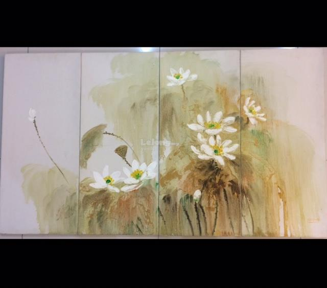 White Lily Flower Oil Paintings on Canvas (Hand Painted) 4pcs