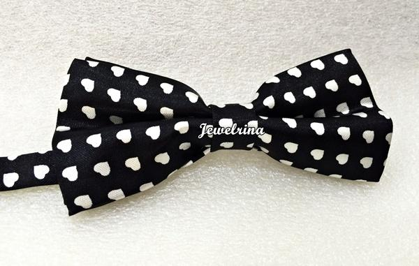 White Love Print Bow Tie -Black (Free Shipping)