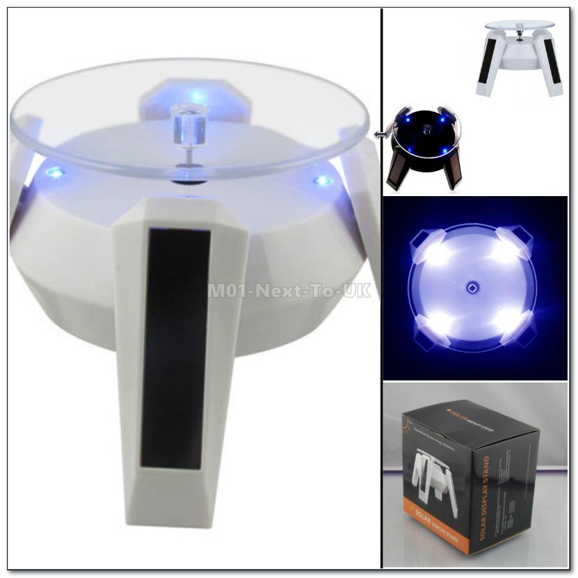 WHITE Solar Power Battery Rotating Display Stand Turn Table LED Light