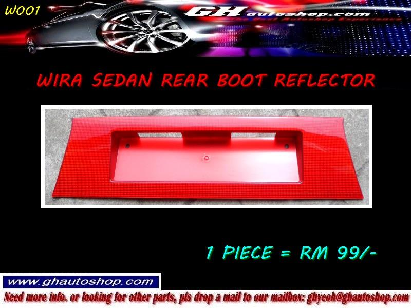 WIRA SEDAN REAR NUMBER PLATE PART RED REFLECT MOULDING