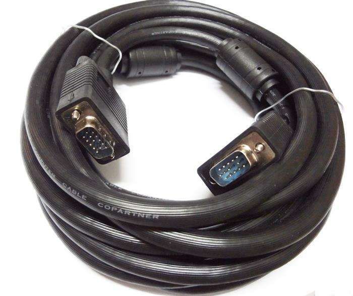 Wiretek 5M RGB Cable HDB15M to HDB15M 2 Cores Black HD15 Male to Male