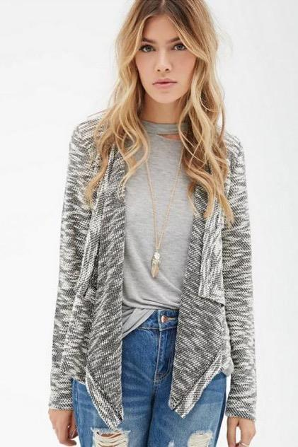 WJ7396 Europe Fashion Cardigan Grey