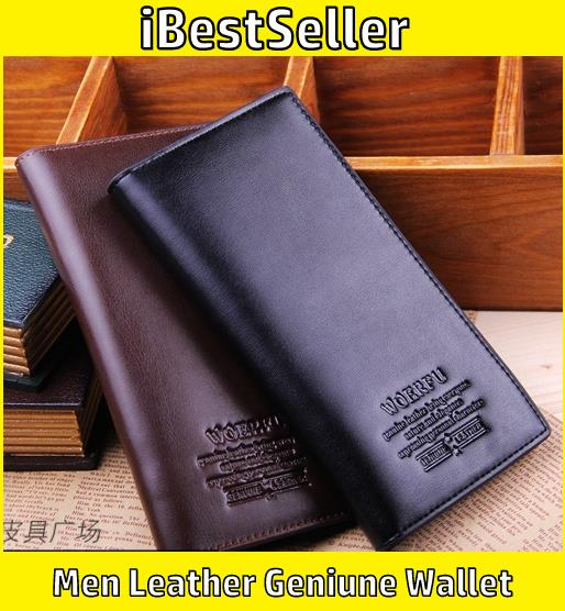 Woerfu Men High Quality Genuine Leather Wallet Men Long Wallet Purse