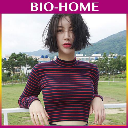 WOMAN WOMEN RED BLACK STRIP LONG SLEEVE SHORT TOP HALF SHIRT KOREAN