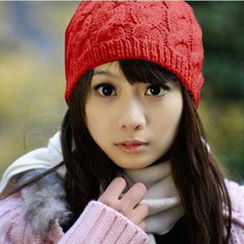 Women Crochet Knitted Warm Beret Hat