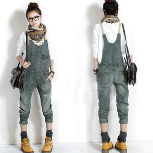 women denim jeans suspender overalls trousers cowboy jumpsuits bib pan. Black Bedroom Furniture Sets. Home Design Ideas