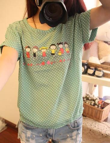 Women Fashion Chiffon Cartoon Short Sleeved T-Shirt