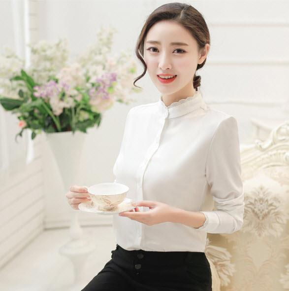 Women Shirt Long Sleeve Blouse High Collar Office Wear