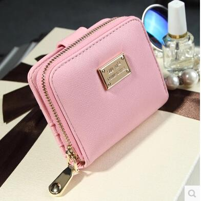 Women short wallet wallet two fold cross pattern clutch