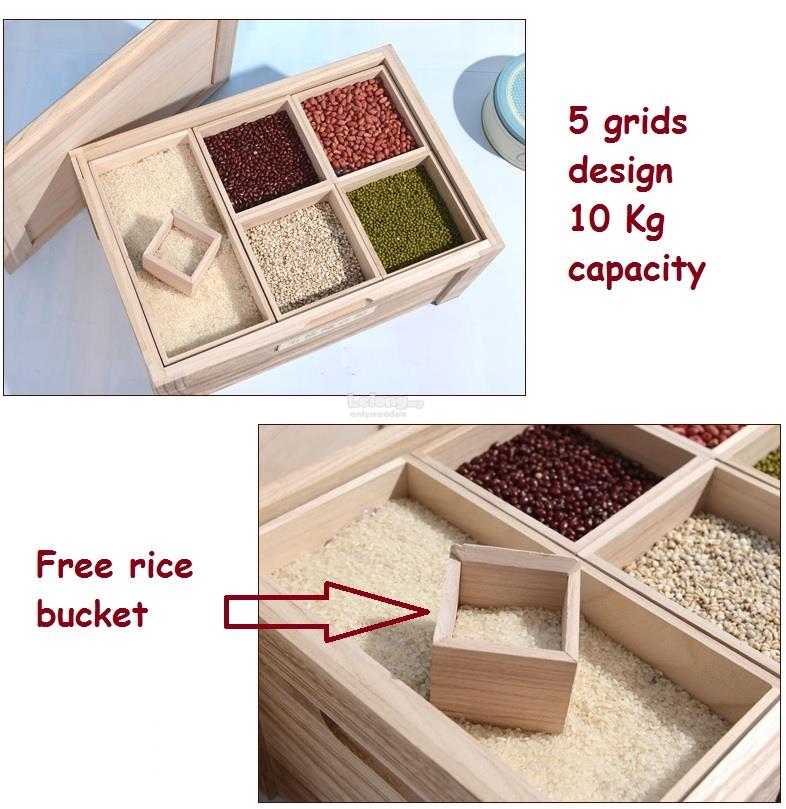 Wooden 5 Grids of Grains Storage Boxes, Rice Storage, Grains Barrels
