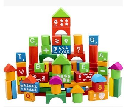 Wooden Blocks, Alphanumeric Building Blocks (100pcs or 50pcs)