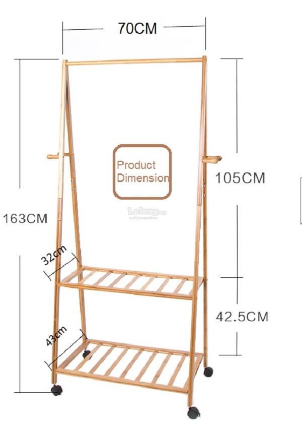 Wooden Clothes Movable Hanger Carts, Wood Portable Rack, DIY Shelf