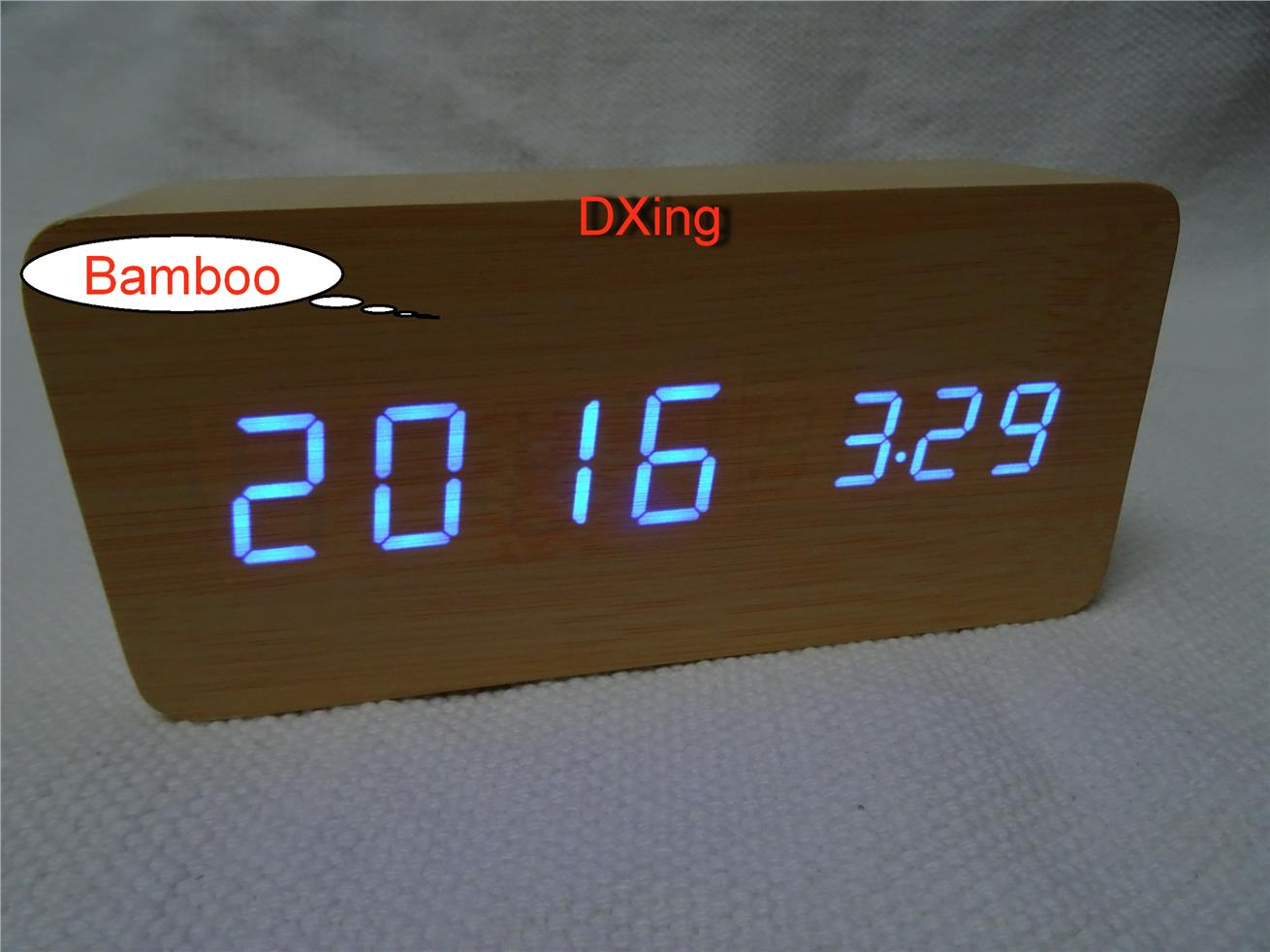 Wooden Design LED Light Clock with Alarm,Date,Temparature,Sound Sensor