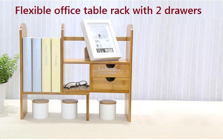 Wooden Desktop Retractable Bookshelf Table, Bookcase, DIY Office Rack