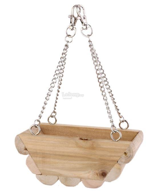 Wooden Hanging Boat Swing Mouse Parrot Bird Cat Hamster Bed Cage Toys