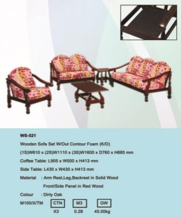 Wooden Sofa Set Without Contour Foam (WS-521-DO)