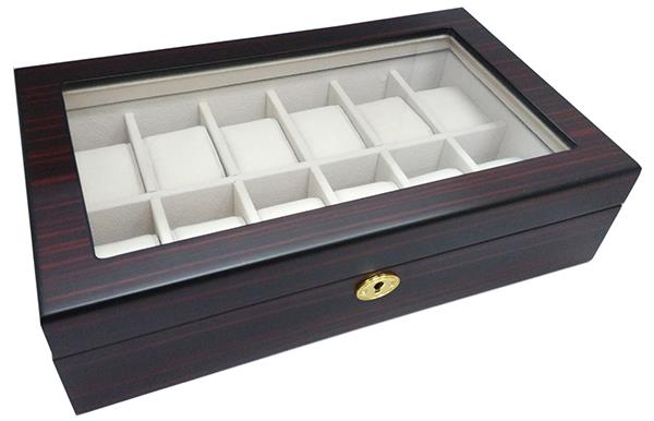 Wooden Watch Display Box - 12 Slots