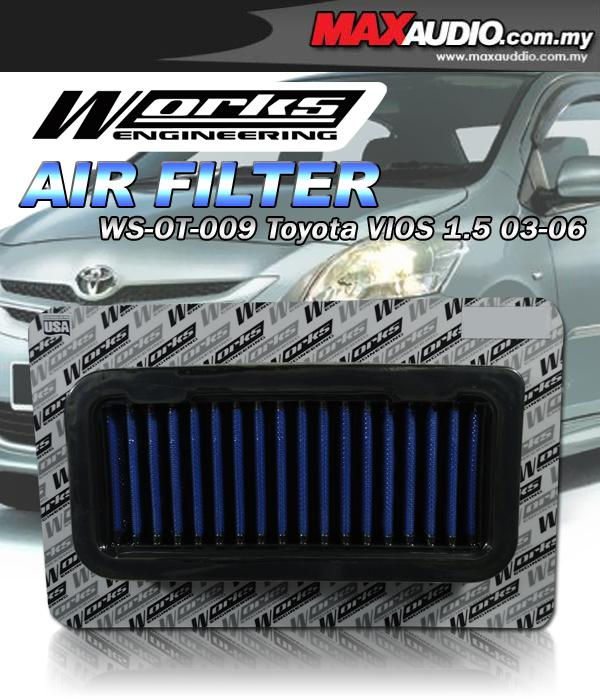 WORKS Stainless Steel Drop In Air Filter: TOYOTA VIOS 1.5 '03-'06