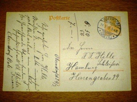 #WORLD WAR I#Germany. 1918 Used Post Card to Hamburg Michel P110.1