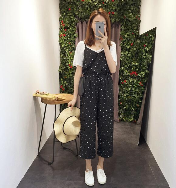 WP3688 Fashion Polka Dot Jumpsuit Black