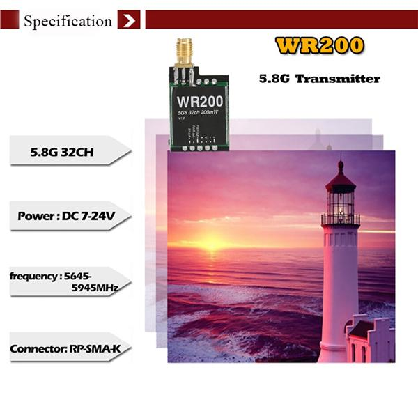WR200 5.8G 32CH 200mW AV Transmitter for XK X350 RC Quadcopter